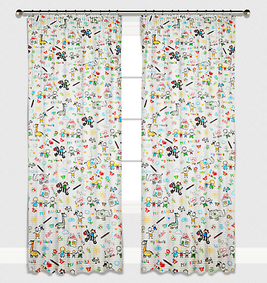 Curtains Pencil Pleat Lined Nursery Kids Baby Room Girls Boys ABC Drawing