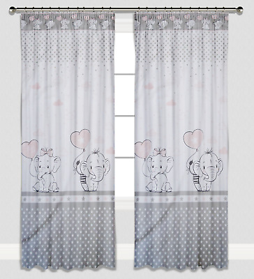 Curtains Pencil Pleat Lined Nursery Kids Baby Room Girls Pink Elephants