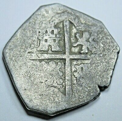 1600s Spanish Silver 2 Reales Piece of 8 Real Colonial Two Bit Treasure Cob Coin
