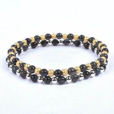 Natural Labradorite Stone 4mm Blue Flash 925 Silver/Gold Delicate Beads Bracelet