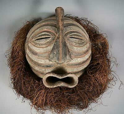 Large poly-chrome  Luba style Mask Congo with raffia