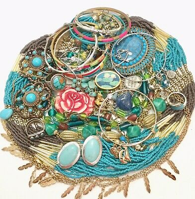 Huge Vtg Now Jewelry Lot Estate Find Unsearched,Gold/Silver/Blue/Turquoise Color