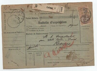 1927 Alsace Lorraine Bulletin Expedition Fiscal + Timbres Postes