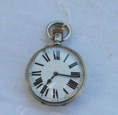 """RARE Vintage Antique Large Jumbo 2.5"""" Wind Up Pocket Watch French EARLY LOOK NR"""