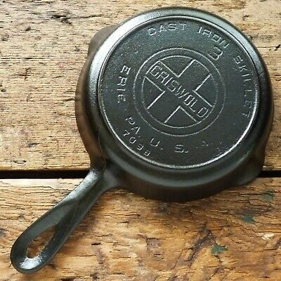 Vintage GRISWOLD Cast Iron SKILLET Frying Pan # 3 LARGE BLOCK LOGO - Ironspoon