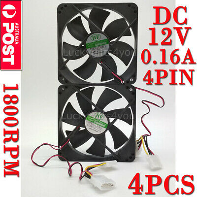 4X 120mm 120x25mm 12V 4Pin DC Brushless PC Computer Case Cooling Fan 1800PRM AU