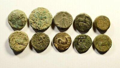 Rare Mixed Lot Of 10 Ancient Greek Coins - For Cleaning 03