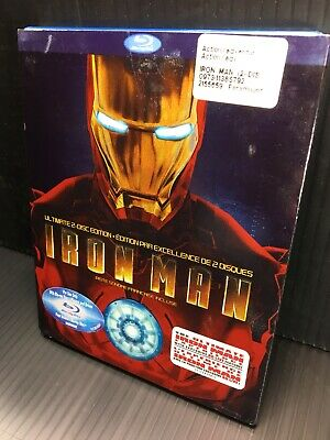 Iron Man 2008 2-Disc Ultimate Blu-ray only Open Mint Robert Downey Jr Slipcover