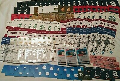 Huge Lot of Unactivated Gift Cards App Store Itunes Amazon Starbucks Subway More