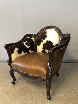 Old Hickory Tannery Western Barrel Back Carved Hair on Hide Leather Arm Chair