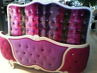 Antique French Deep Buttoned Bed Upholstered in Designers Guild Velvet Fabric