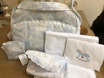 Brand New Spanish baby bag set . Blue and white. ( cost £70 from Spain)