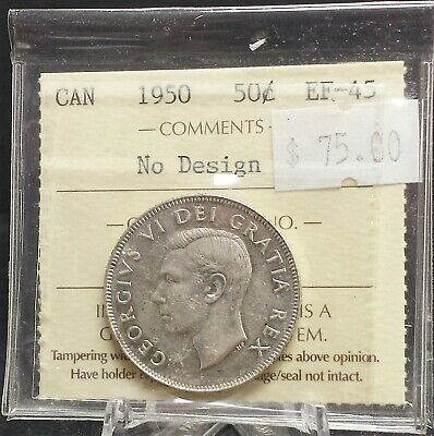 1950 no design Canada 50 cent Silver ICCS Certified EF45. A123