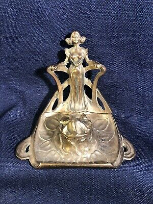 Antique or Vintage Brass Art Nouveau Figural Inkwell semi nude lady