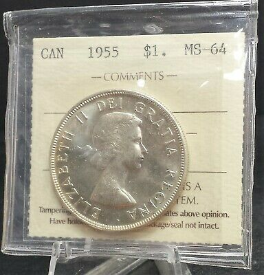 1955 Canada Silver Dollar ICCS Certified MS64. A137