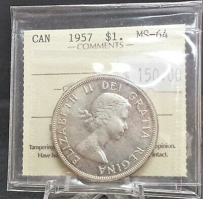 1957 Canada Silver Dollar ICCS Certified MS64. A140
