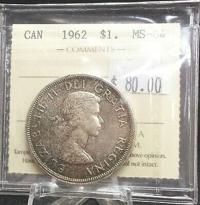 1962 Canada Silver Dollar ICCS Certified MS64. A142