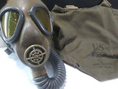 US WWII Rubber Service Gas Mask + Canvas Carrier Bag- 1942 American WW2 VTG