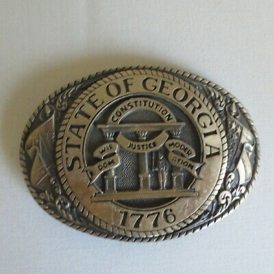 "Tony Lama First Edition Solid Brass 3 3/4"" Belt Buckle State Series Georgia"