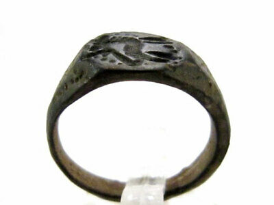 OUTSTANDING CELTIC BRONZE SEAL INTAGLIO RING w/ SACRAL ANIMAL IMAGE+++