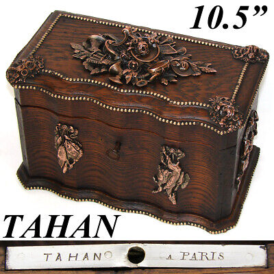 """Rare Antique French TAHAN Marked 10.5"""" Oak Box, Hunt Themed Figural Accents"""