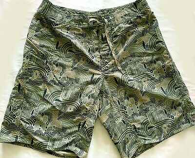6363a519f4 Patagonia Men's Forest Green Abstract Print Board Shorts Zip Pocket Size 32