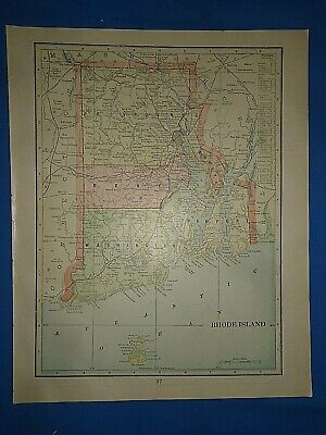 Vintage 1902 RHODE ISLAND MAP ~ Old Antique Original Atlas Map