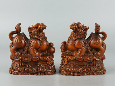 Chinese Exquisite Hand carved Kirin Carving Boxwood statue a pair