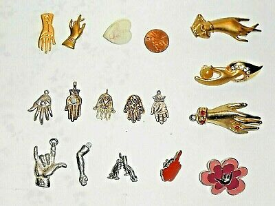 Nice Lot of 16 Vintage Figural Hands, Pins & Charms, Decorations, Mixed Metals
