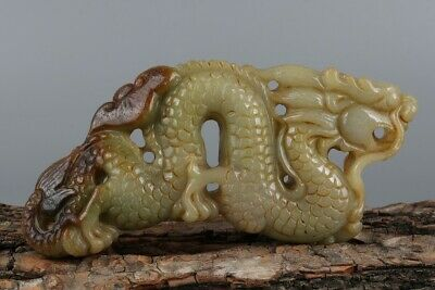 Chinese Exquisite Hand-carved Dragon Carving jadeite jade statue