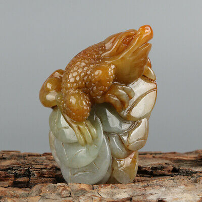 Chinese Exquisite Hand-carved toad Carving jadeite jade Pendant