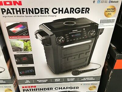 ion pathfinder charger bluetooth portable speaker with wireless qi charging