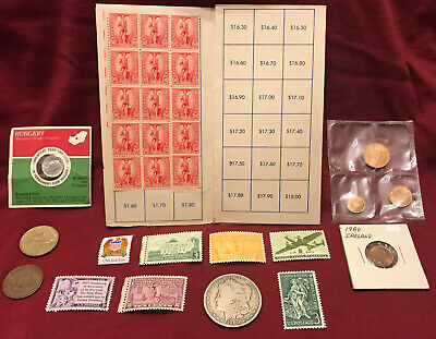 Junk Drawer Lot 1900-O Morgan Silver Dollar, Postage Stamps, Coins, US Bond Book