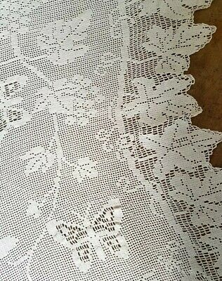 MARY CARD GRAPES/BUTTERFLY & VINE 2 Vintage/antique filet crochet PANELS/CURTAIN