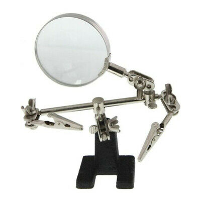 Third Hand Soldering Iron Stand Helping Jewelry Loupe 5X Magnifying Glass A6Y0O