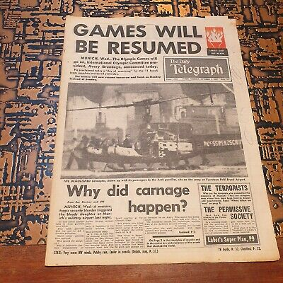 Munich Olympic Games Attack - Newspaper Cover - Sep 7th 1972