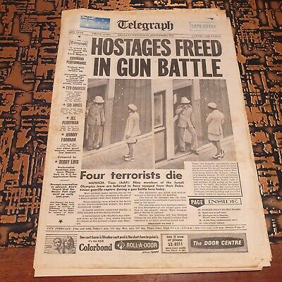 Munich Olympic Games Attack - Newspaper Cover - Sep 6th 1972