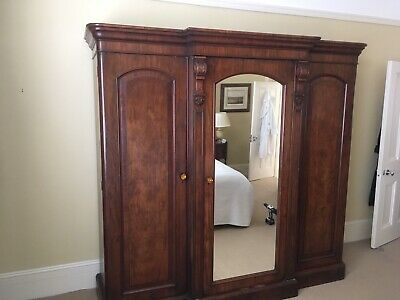 Large Antique Victorian Three Door Mahogany  Breakfront Wardrobe