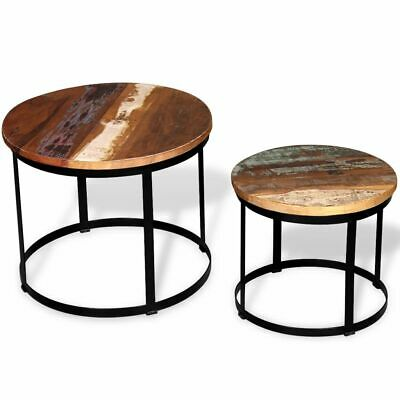 "Two Piece Coffee Table Set Solid Reclaimed Wood Round 19.7"" A1O2"