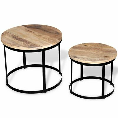"Two Piece Coffee Table Set Rough Mango Wood Round 15.7""/19.7"" D2H2"