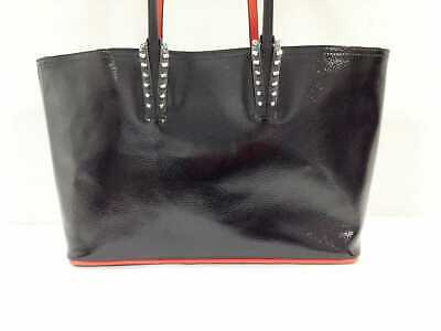 a551c88aae Auth CHRISTIAN LOUBOUTIN Cabata Black Patent Leather Leather Tote Bag