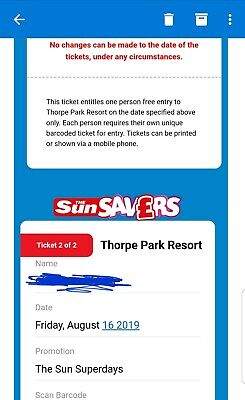 2 X THORPE Park Tickets Friday 16th August 2019 16/09/19