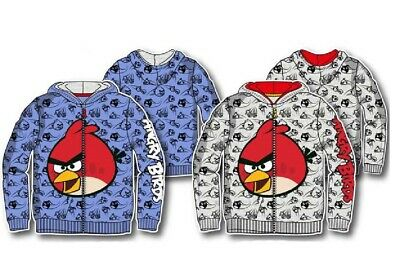 Boys Angry Bird Hoodie Kids Angry Bird Jumper With Zip Opening Age 4-10 Years