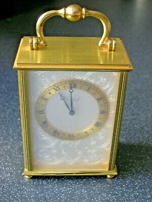 Vintage Swiss Imhof Solid Brass Carriage Clock 15 Jewels Engraved Fully Working