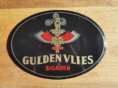 "Plaque Pub Vintage ""Gulden Vlies Sigaren"" - Glacoide - Brussel BE"