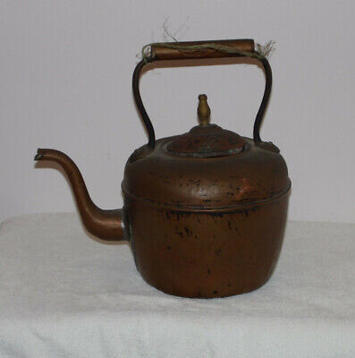 Large Victorian Copper Brass Kettle Old Antique Fireplace Collectable Aga Range.