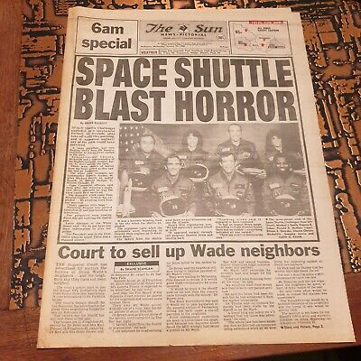Challenger Explosion -  Newspaper Cover - Jan 29th 1986