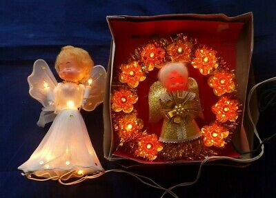 Pair Of Angel Vintage Lighted Christmas Tree Topper One In Orginal Box