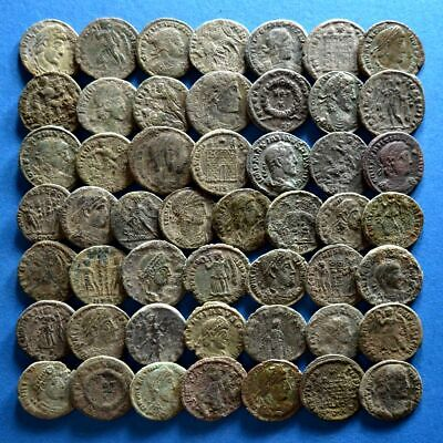 Lot of 50 AE3 Size Uncleaned Roman Bronze Coins