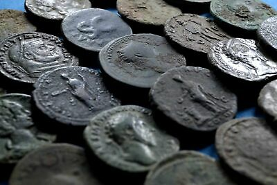 Lot of 25 AE1 Size Uncleaned Roman Bronze Coins